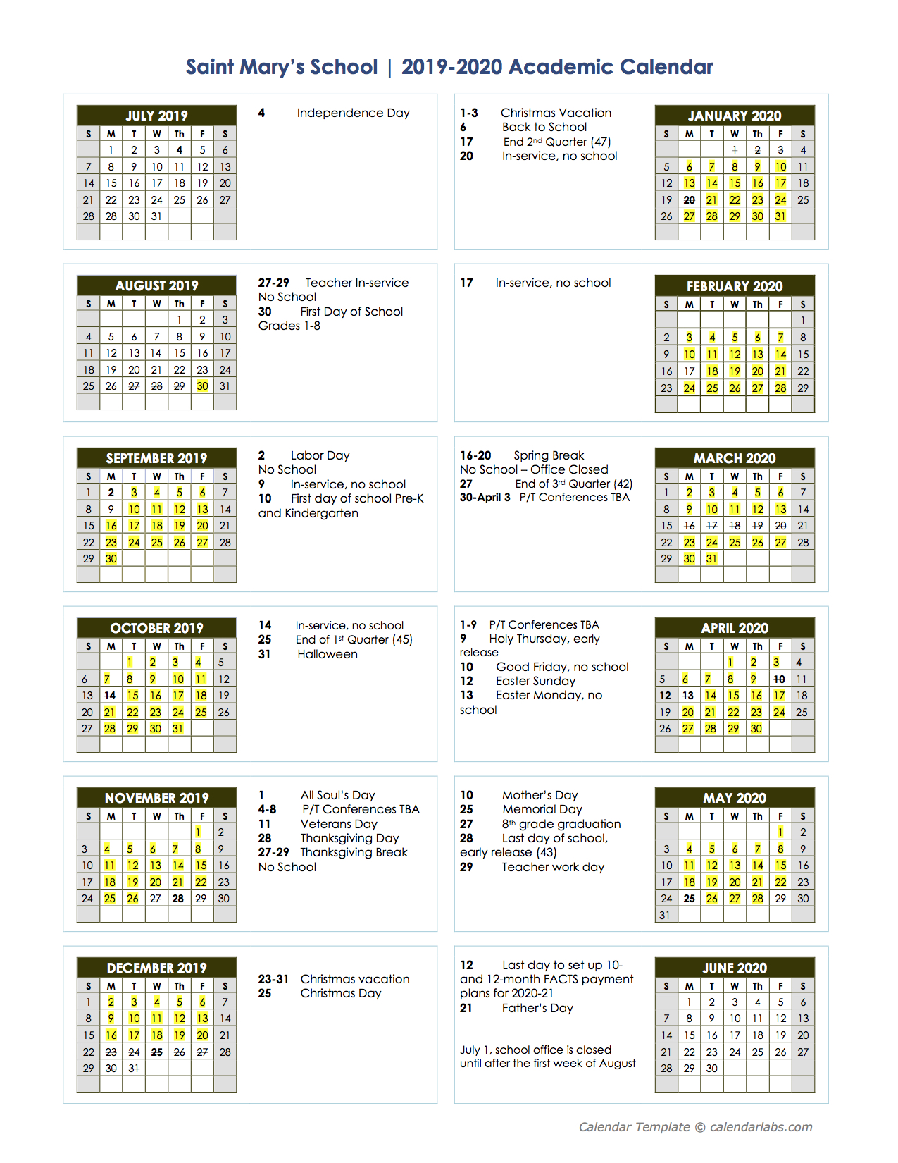 Spring 2020 Academic Calendar.Proposed 2019 2020 Academic Calendar St Mary S School